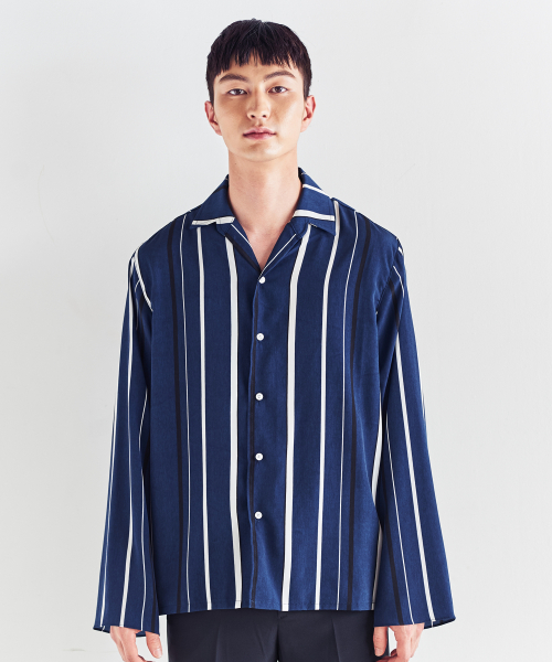 [트립르센스]MULTI ST OPEN SHIRTS NAVY