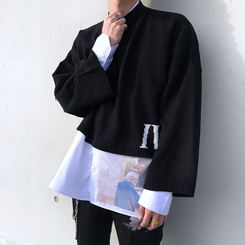 [4BLESS][3차 재입고] IV Over Crop Knit Black