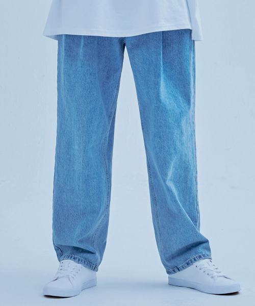 [에드] PINTUCKED WIDE DENIM BLUE
