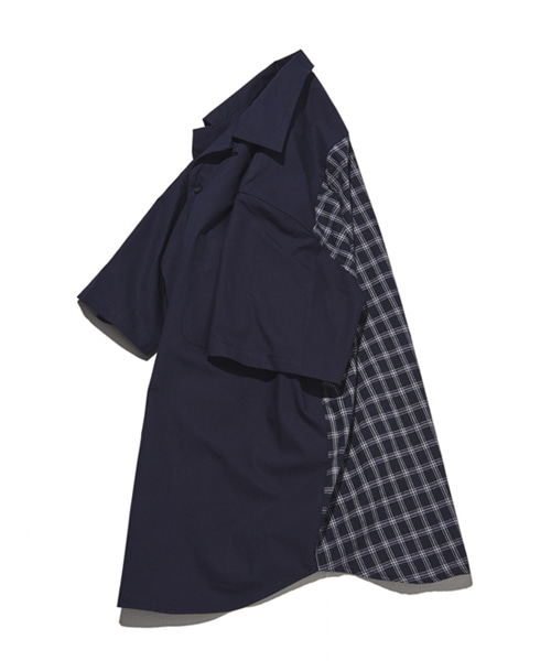 [뮤트커먼센스] Back Check Shirt (Navy)