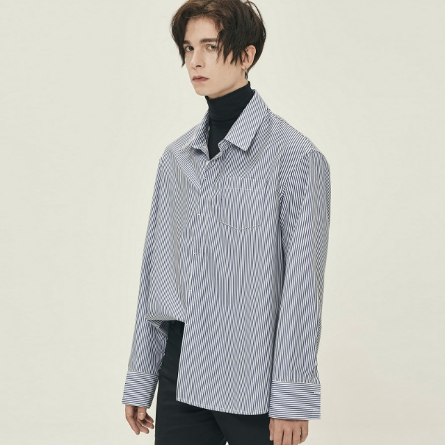 [단하우스] [JBJ 김동한 착용] LIGHT NAVY Side Cutting Long Stripe Shirts