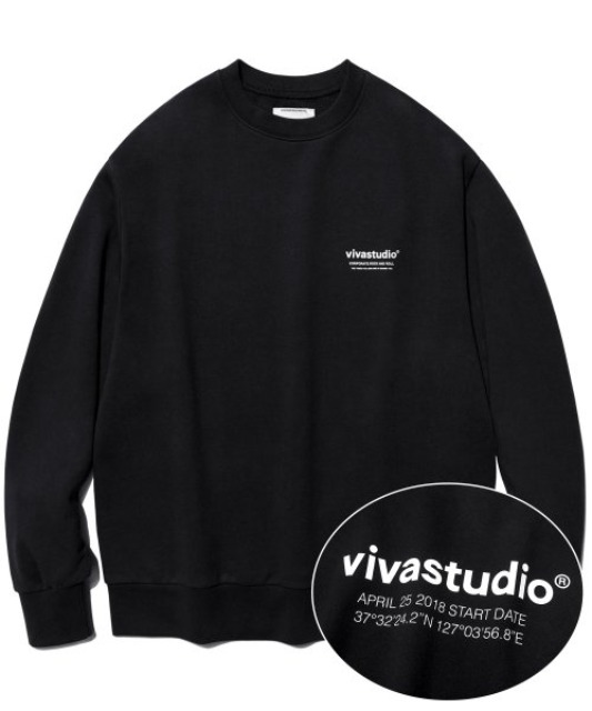 [비바스튜디오] LOCATION CREWNECK JS [BLACK]