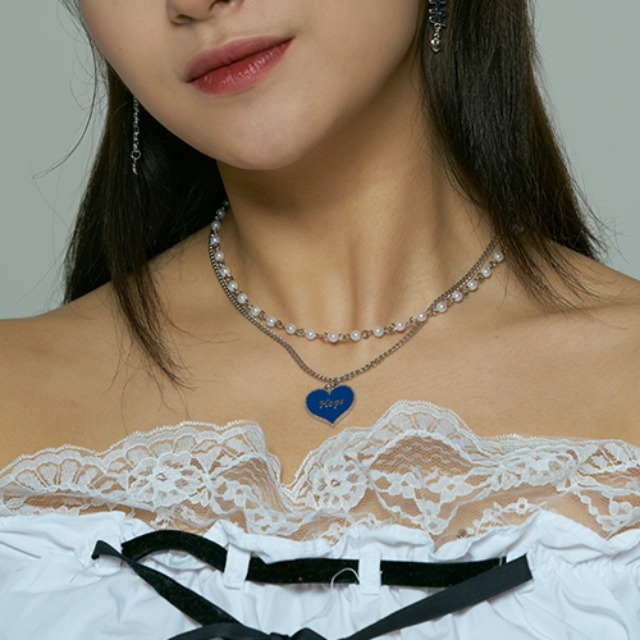 [하와] Hope heart layered necklace