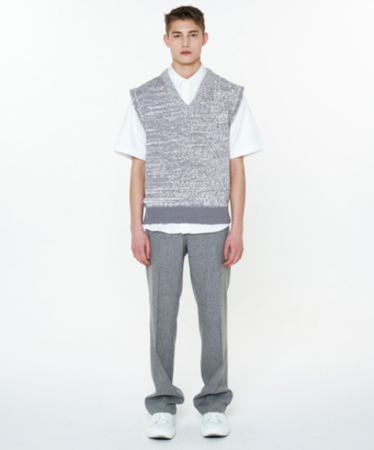 [에스티유] V neck bokashi knit vest grey (4/7 순차 발송)