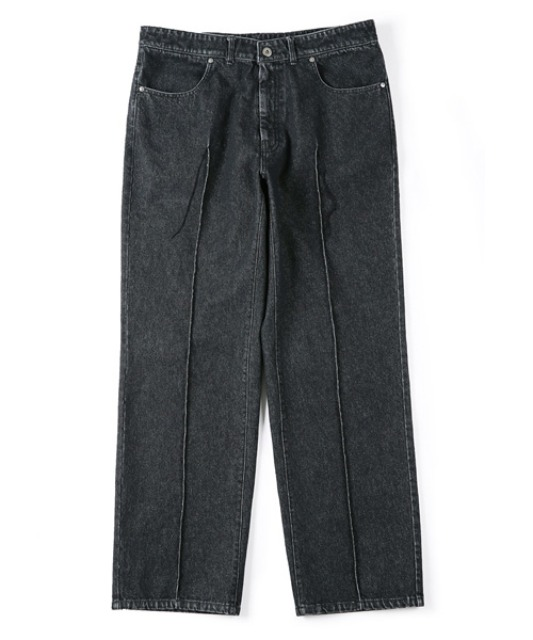 [셔터] STITCHED CREASE DENIM PANTS black