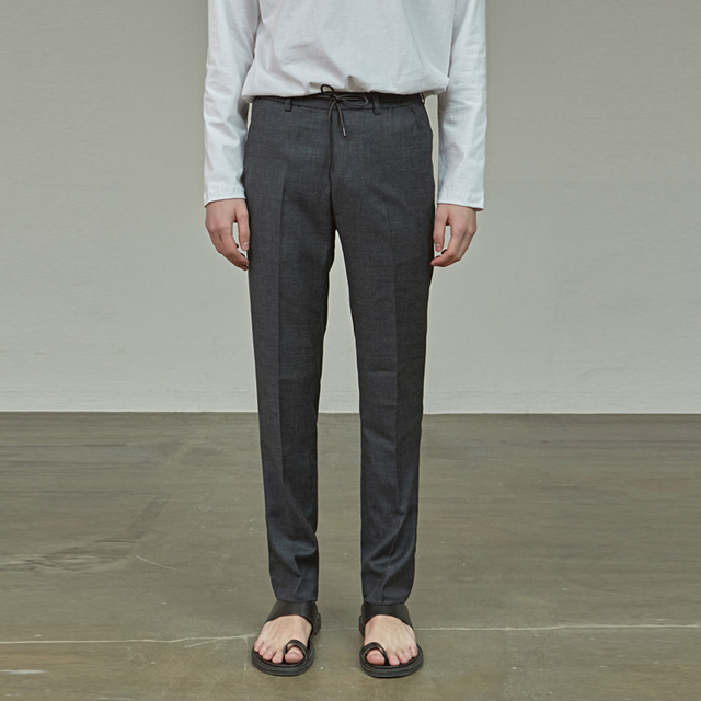[에이글로우] BANDING WOOL SLACKS_NAVY