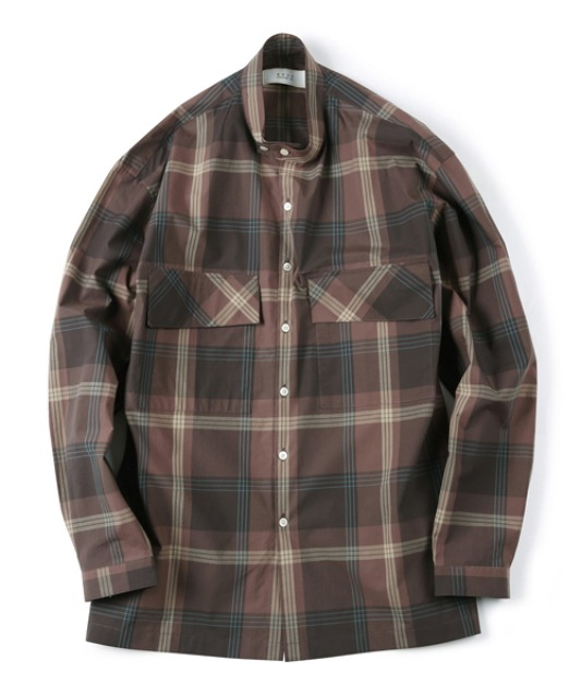 [셔터] CHECKED BAND COLLAR SHIRT brown