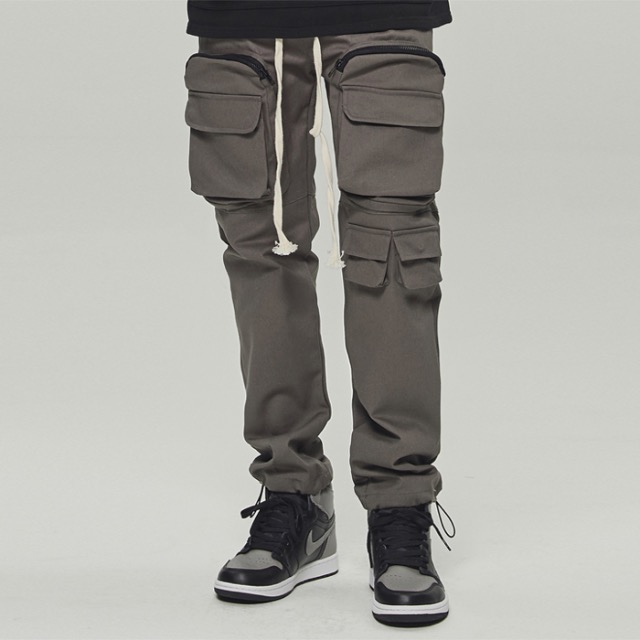 [데드엔드] CHARCOAL UTILITY POCKET CARGO STRING PANTS