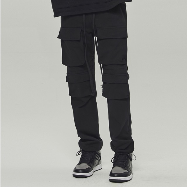 [데드엔드] BLACK MULTI POCKET CARGO STRING PANTS