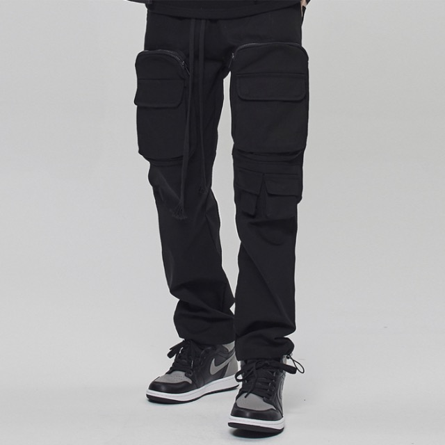 [데드엔드] BLACK UTILITY POCKET CARGO STRING PANTS