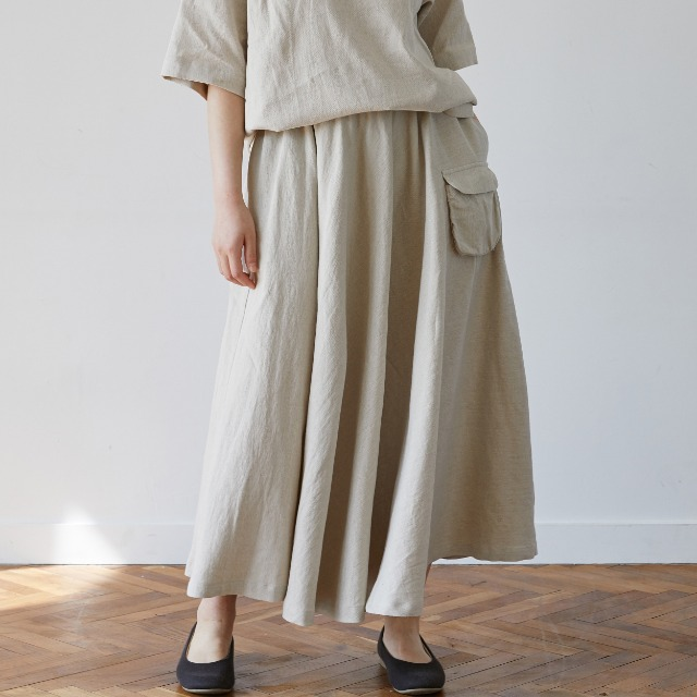 [말렌] linen pocket skirt beige
