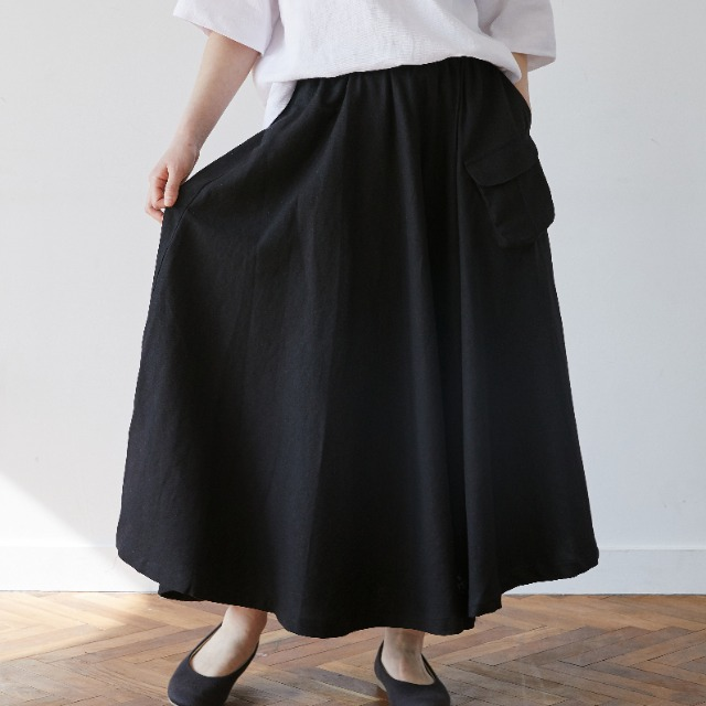 [말렌] linen pocket skirt black
