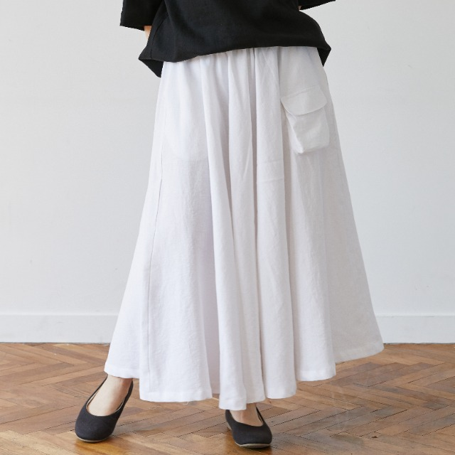[말렌] linen pocket skirt white