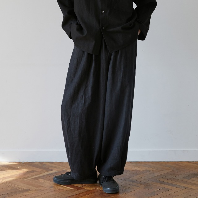 [말렌] unisex linen button balloon pants black