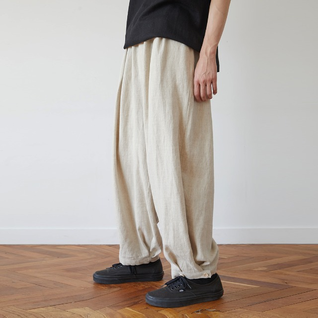 [말렌] unisex linen button balloon pants beige