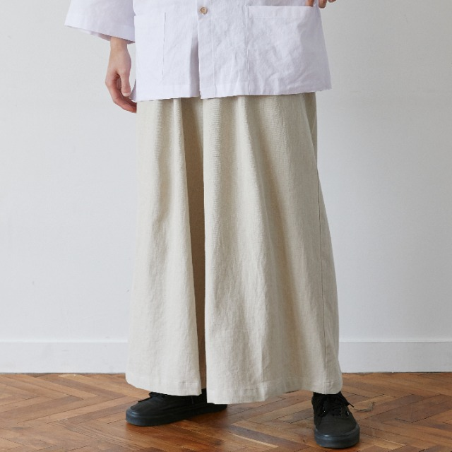 [말렌] unisex linen shade wide pants beige