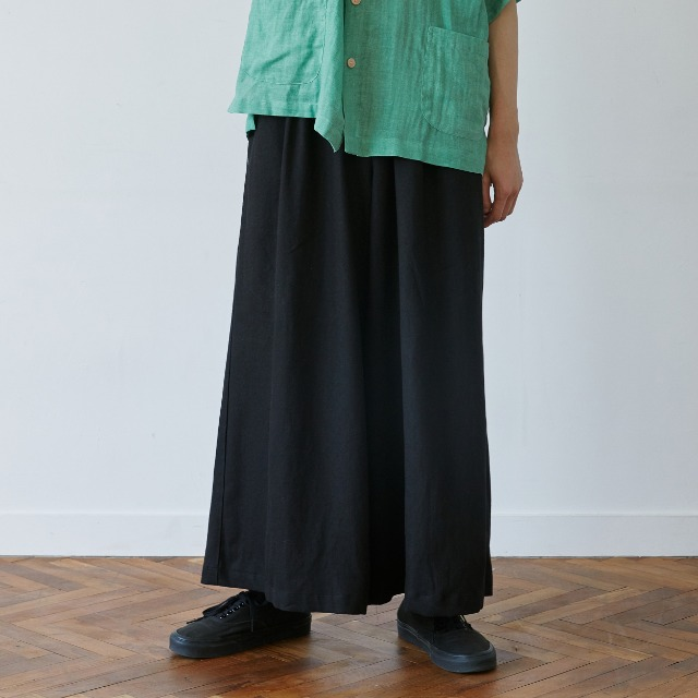 [말렌] unisex linen shade wide pants black