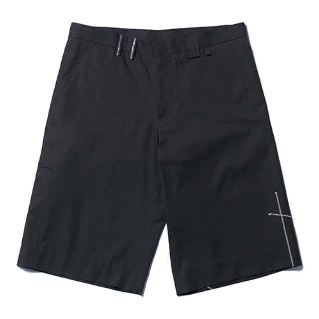 [노매뉴얼 x 에스티유] N/S STITCH HALF PANTS - BLACK