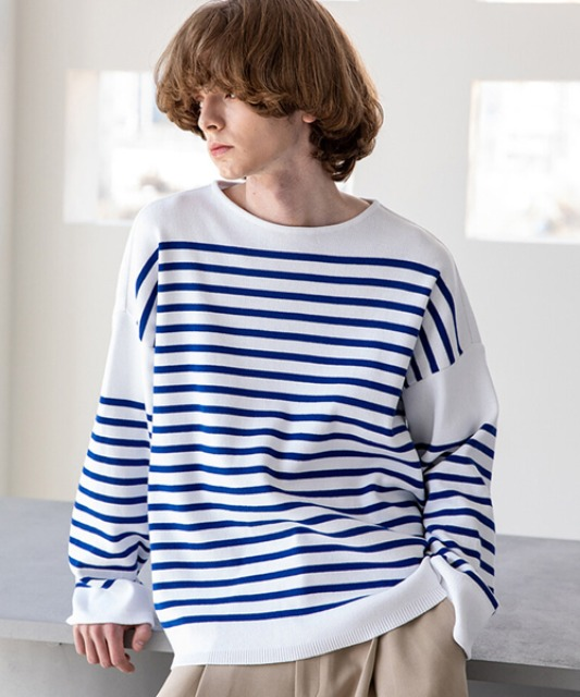[비긴202] Horizontal line Boat Neck Knit White x Blue