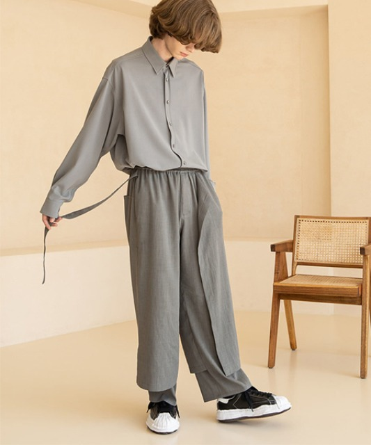 [비긴202] (Begin2.0.2 x Glothes_Studio) Light Polyerster Layered Pants OLIVE GREY