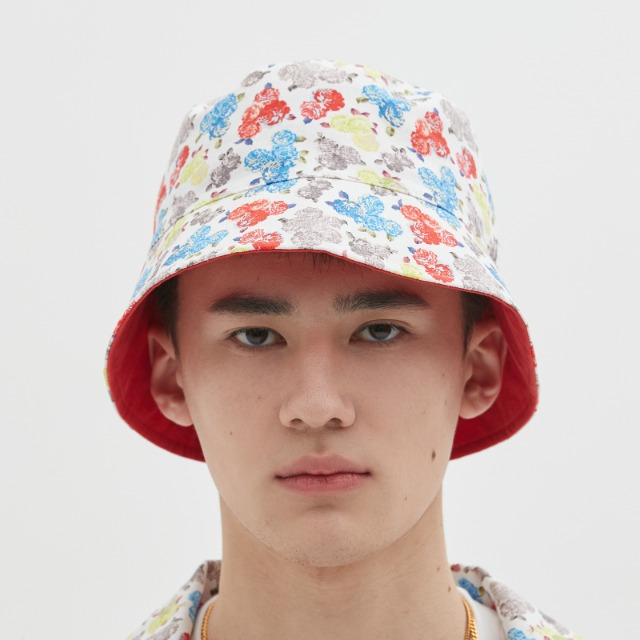 [위캔더스] REVERSIBLE FLORAL BUCKET HAT (WHITE)