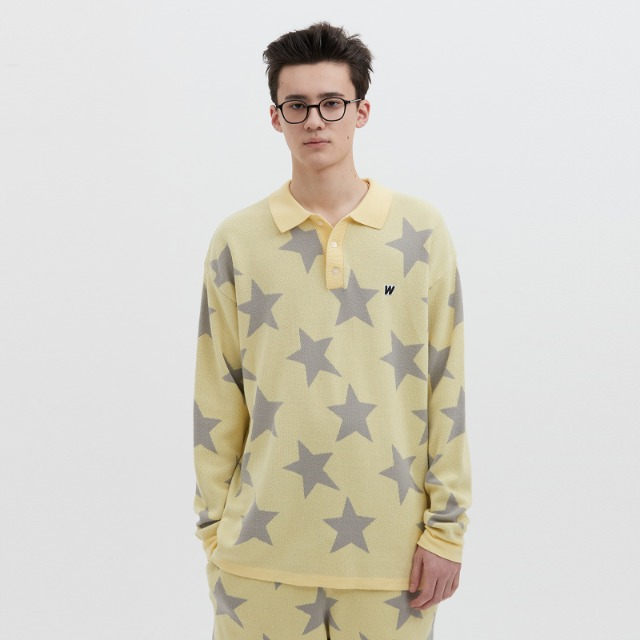 [위캔더스] KNITTED STAR POLO SHIRT	 (YELLOW)