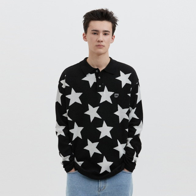 [위캔더스] KNITTED STAR POLO SHIRT (BLACK)